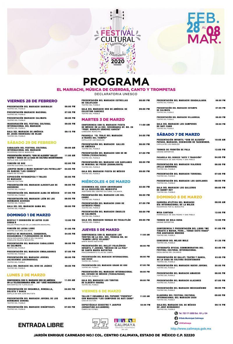 Cartel del Festival Cultural Internacional del Mariachi 2020