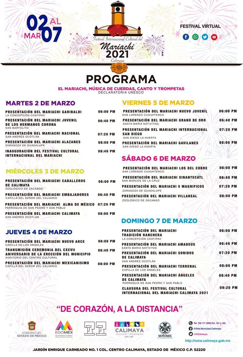 Programa Festival Virtual Cultural Internacional del Mariachi Calimaya 2021.