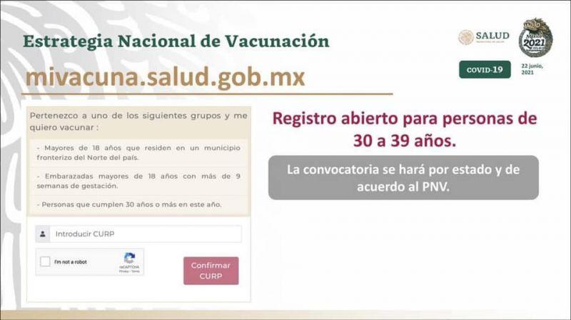 Registro para personas de 30 a 39 años para la vacunación contra #COVID19